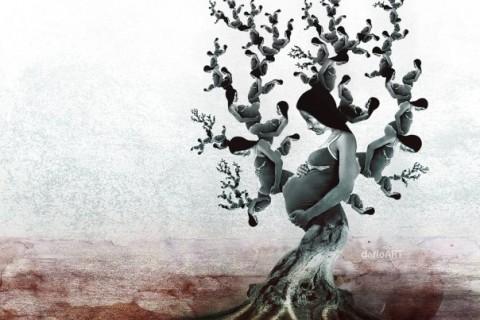 femme arbre enceinte